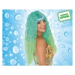 Parrucca lunga riccia verde con frisèe capelli lunghi colore tiffany principessa Atosa