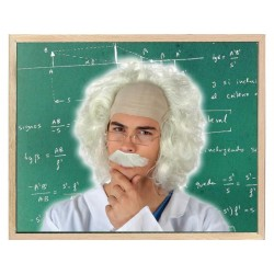Parrucca scienziato pazzo capelli bianchi lunghi