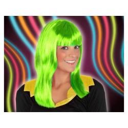 Parrucca lunga verde fluò  capelli lunghi verdi con frangetta