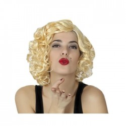 Parrucca bionda riccia da donna charleston capelli mossi carnevale