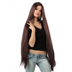 Parrucca castana lunga donna nera