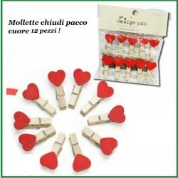 Mollette chiudi pacco forma cuore 12 pz mollettine