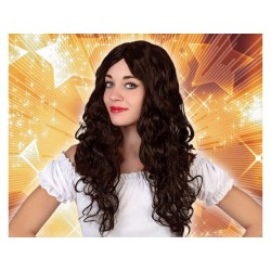 Parrucca castana lunga donna capelli mossi ricci