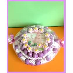 Torta di caramelle marshmallow Prima Comunione caramellata rosa