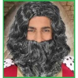 Parrucca  barba e baffi grigia da uomo