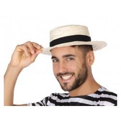 Cappello paglietta gondoliere con nastro in paglia