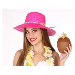 Cappello paglietta in paglia fucsia da donna estivo