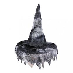 Cappello da strega adulto in tessuto nero halloween