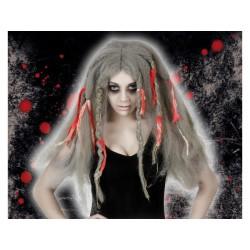 Parrucca zombie grigia capelli lunghi rasta
