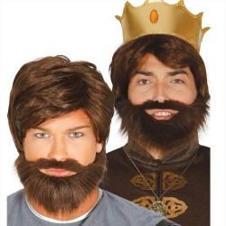 Parrucca corta da uomo con barba