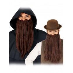 Barba lunga e baffi marrone uomo