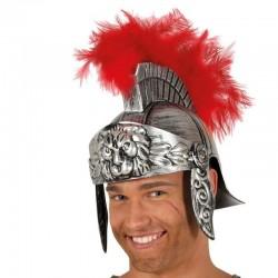Elmetto Casco cavalliere Romano con piume Carnevale