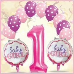 Palloncini 1 primo compleanno rosa bimba abbobbo