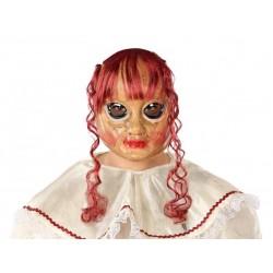 Maschera bambola assassina rotta con capelli