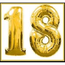 Palloncini numero18 anni oro cm102 mylar elio o aria