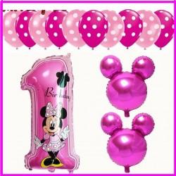 Palloncini Minnie  numero 1 buon compleanno kit Topolina rosa13 pz