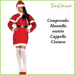 Costume da babbo Natale donna vestito rosso