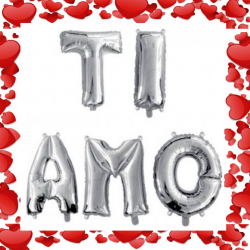 Palloncino scritta TI AMO San Valentino mylar argento sagomato love