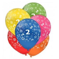 Palloncini compleanno numero 2 assortiti
