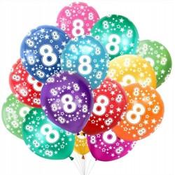 Palloncini numero otto 8 anni in lattice colori assortiti