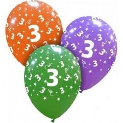 Palloncini compleanno numero 3 anni in latice colori