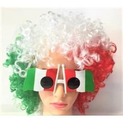 Parrucca Italia tricolore tifoso bandiera italiana mondiali